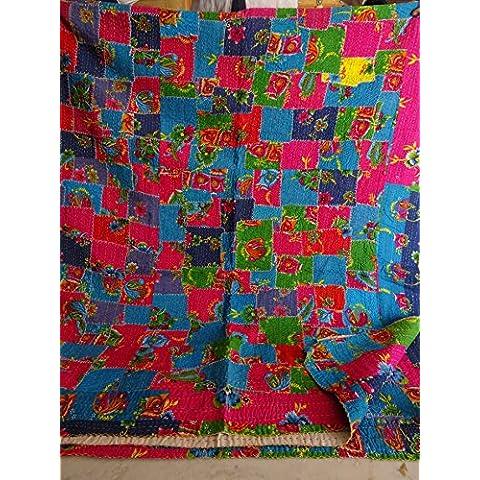 Tribal Asian Textiles Multicolor Patchwork impresión Reina tamaño Kantha Edredón, manta Kantha, cubierta de cama, rey Kantha colcha, Bohemia Bedding Kantha Tamaño 90pulgadas x 108pulgadas 1079
