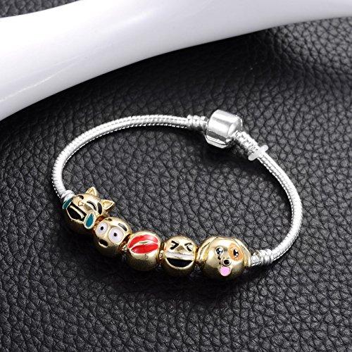 Jiayiqi Femmes Expression Bijoux Emoji Slide Bracelets Bracelet à Breloques Emoticon Lèvre 20cm