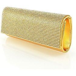 Essex Glam Abentasche Clutch Fukelnden Strassstein Mit Zusätzlichen Ketten Gold