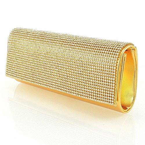 NEW WOMENS DIAMANTE PARTY EVENING BRIDAL PROM SPARKLY WEDDING LADIES CLUTCH BAG (Gold Metallic)