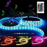 Tira LED Activada por Música,RGB SMD 300 LED - 5M de longuitud - 12V- 5A Impermeable IP65 Luz Ambiente, luz Nocturna, luz de Seguridad para Casa/KTV Neolight F2