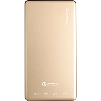 Stuffcool 10000mAh Power Bank with Qualcomm Quick Charge 3.0 Micro USB and Type C Ports, Portable Battery Charger (Gold)