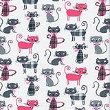 Baumwollstoff   Miau! Katzen Stoff - Pink, Fehgrau, Eisengrau und drei schicke Schottenmuster (Grundfarbe: weiß)   100% Baumwolle   Stoffbreite: 160 cm (pro Laufmeter)*