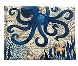 Gnzoe Cotton Linien Teppiche Tintenfisch Muster Design Teppiche für Küche Blau 40x30CM