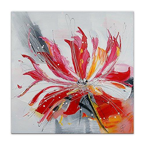 Arte Dal Mondo AS426X1 Wandverzierung Abstrakt Blume Flowers modern Acryl Gemälde auf Leinwand von Hand Dekoriert, bunt, 80 x 80 x 3.5 cm