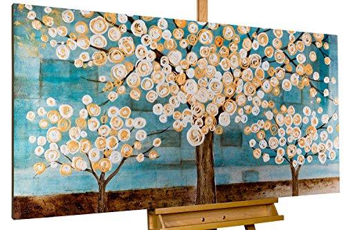 Dipinto in acrilico KunstLoft® 'Malinconia in blu' in 140x70cm | Tele originali manufatte XXL | Alberi e fiori natura bosco bianco e blu | Quadro da parete dipinto in acrilico arte moderna in un pezzo