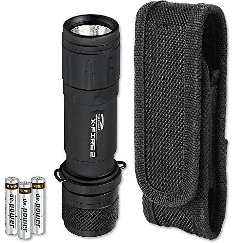 LiteXpress SET-KOMBI96 X-Fire 2 LED AAA-Taschenlampe, 267 lm, Trailite Nylonholster TL-NH100, Aluminium, schwarz, 12.2 x 3.4 x 3.4 cm