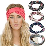 - 61GkiDVVQ7L - DRESHOW 4 Pack Headbands Vintage Elastic Printed Head Wrap Stretchy Moisture Solid Color Criss Hairband for Women