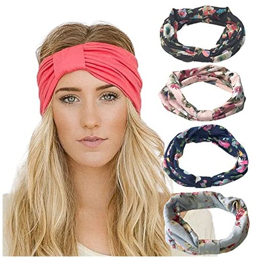 DRESHOW 4 Pack Headbands Vintage Elastic Printed Head Wrap Stretchy Moisture Solid Color Criss Hairband for Women