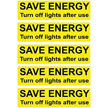 save energy 39 black and yellow 39 light switch stickers pk 5 turn off light 7cm x 2cm decals. Black Bedroom Furniture Sets. Home Design Ideas