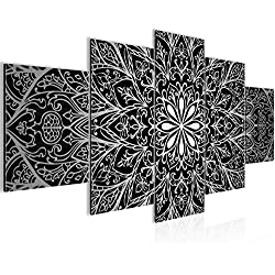 Cuadro Mandala Abstract Decoración de Pared 200 x 100 cm Forro polar - Lienzo decoración de Pared tamaño XXL Salón Apartamento impresiones Artísticas Gris 5 Partes - 100% MADE IN GERMANY - listo para colgar 107451c