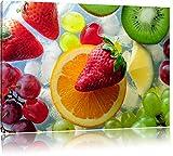 Kiwi Apfel Birne Obst Obstsalat Format: 60x40 cm auf Leinwand, XXL riesige Bilder fertig gerahmt mit Keilrahmen, Kunstdruck auf Wandbild mit Rahmen, günstiger als Gemälde oder Ölbild, kein Poster oder Plakat