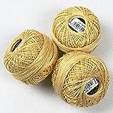 KAMACA 3 er Set ( = 3 Knäuel je 10 g ) Stickgarn / Perlgarn - 100 % Baumwolle , farbecht mercerisiert , - qualitativ hochwertig - perfekt zum Sticken , egal ob Kreuzstich , Stielstich , Spannstich Plattstich oder Nadelmalerei, zum Sofort-Loslegen - aus dem KAMACA-SHOP (Ockergelb)