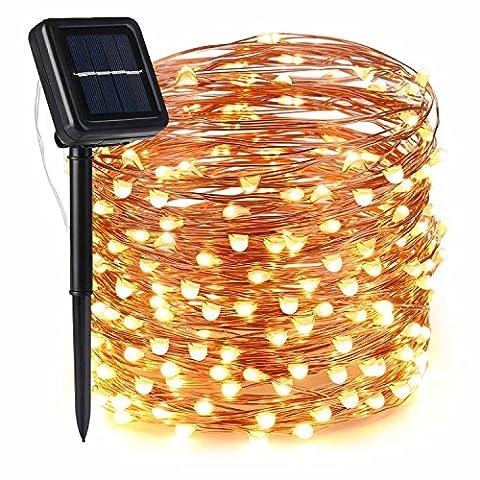 lederTEK Solar Lichterkette, Kupferdraht, 20M, 200er LED, 8 Modi, batteriebetriebene Außenbeleuchtung, Wasserdicht IP65, mit Fernbedienung, wünderschöne-Dekoration für Weihnachten, Hochzeit, Party, Zuhause, Garten, Balkon, Terrasse, Fenster, Treppe, Bar, usw.(Warmweiß 1 (Laterne Weihnachtsschmuck)