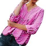 OYSOHE Damen Aushöhlen Bluse V-Ausschnitt Shirt Druck mit Drei Vierteln Ärmel Mode Solide Tops
