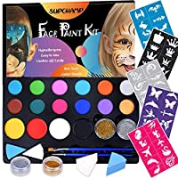 Supchamp Face Paint Kit for Kids, 16 Colour Non-Toxic Face Painting Palette with 50 Stencils, Makeup Kit Safe for Child, Face Paint Set for Halloween Christmas