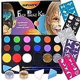 Supchamp Pittura Facciale per Bambini, Trucco Viso Bambini, 16 colori Non Tossico, Palette con 50 Stencils, Kit per Makeup sicuro per bambini per Halloween o Natale