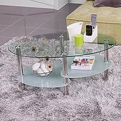 Mesa de Centro, con revistero y Tapa de Cristal Ovalada, 90x55 cm