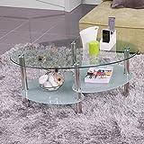 Homely - Mesa de Centro Ainara, con revistero y Tapa de Cristal Ovalada, 90x55 cm