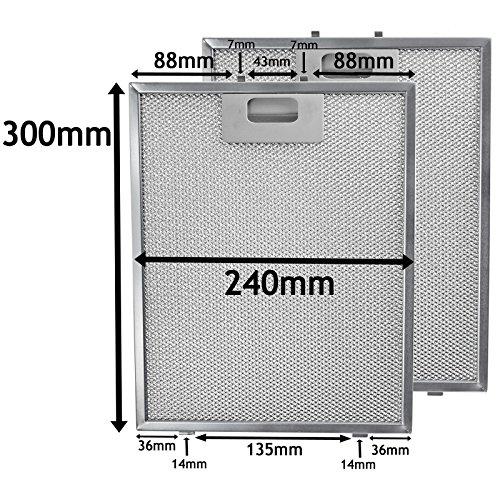 fettfilter metall universal Universal-Fett-Filter für Dunstabzugshaube, von Spares2go, Metall-Geflecht für Küchen-Abluftventilator, silberfarben, 300 x 240mm