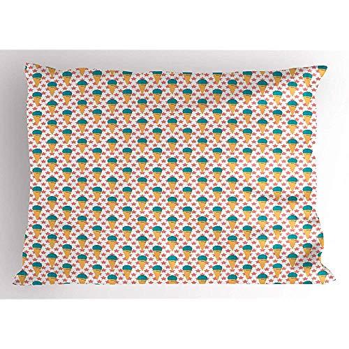 Saudade House 2pcs cremige Kissen Sham,EIS und Sterne auf einem einfachen Hintergrund,dekorative Standard King Size gedruckt Kissenbezug,36 'X 20',Senf Koralle Dark Seafoam und Dark Sky Blue -