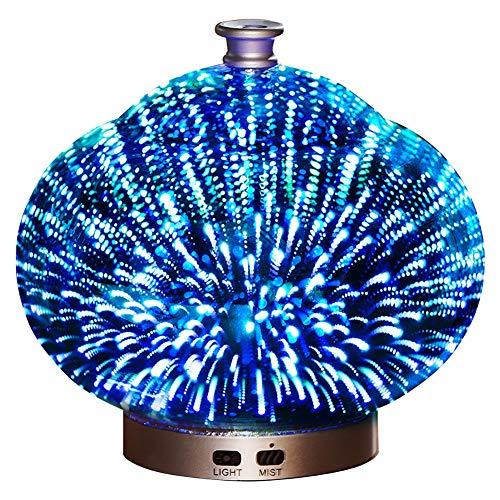 LINLIN Umidificatore Ad Ultrasuoni Diffusore di Oli Essenziali Muto 3D Colorato Notturno Purificatore d'Aria in Vetro 100 Ml 16 * 16.5 Cm