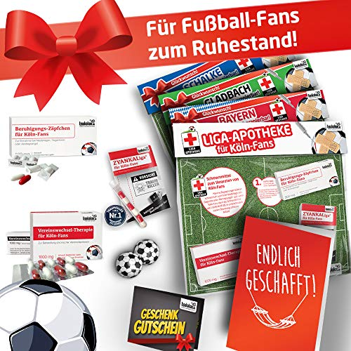 TOP-SELLER: zum Ruhestand   Witziges Geschenk für Kollege   Bundesliga Notfall-Set   42 VEREINE   Überraschen + Lachen + Spaß  Die LIGApotheke für KÖLN-Fans -