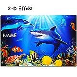 alles-meine GmbH 3-D Effekt _ Unterlage -  Hai Fisch & Delfin / Korallenriff - Meeresbewohner ..