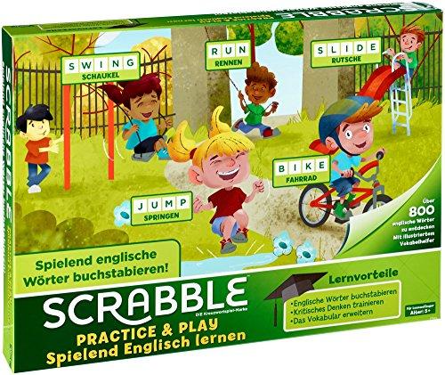 Juegos Mattel-FTG51 Scrabble Practice and Play English, Juego De Mesa para Niños, (FTG51)