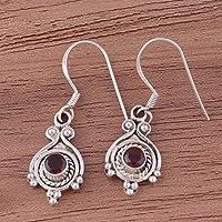 Aretes colgantes, pendientes redondos de granate, pendientes colgantes, pendientes de plata esterlina 925 para mujeres Sterling Silver Drop Earrings