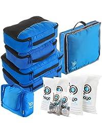 Set organizador para viajes, pack completo -Cubos de embalaje, neceser, bolsa para zapatos y bolsas con cierre zip