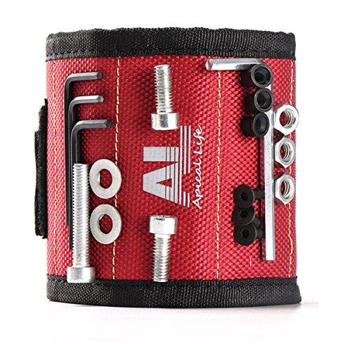 Magnetisches Armband mit 10 starken Magneten, die leicht Schrauben, Nägel, Bohrer und andere kleine Metallwerkzeuge halten. Perfektes Geschenk für Männer, Elektriker, Heimwerker und Frauen von Apicallife
