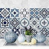 (72 PIECES) carrelage adhésif 10x10 cm - PS00099 - bleu Fès - Adhésive décorative à carreaux pour salle de bains et cuisine Stickers carrelage - collage des tuiles adhésives