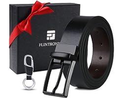 flintronic Cintura Uomo in Pelle, 125cm Moda Cintura a Cricchetto per Lavoro Casuale Jeans con Portachiavi e Confezione Regal