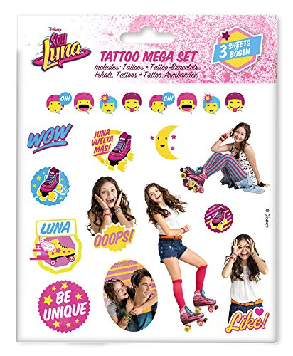 Craze 55442 - Tattoo Mega Set Disney Soy Luna, 3 Bögen, sortiert -