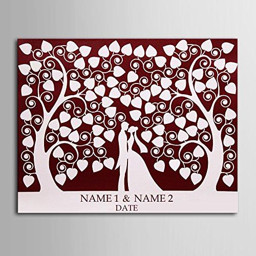 Lienzo de huellas dactilares firma los amantes de los bosques firma lienzo árbol de boda regalo de bodas Decoración de la boda fiesta regalo boda nombre 59x80cm