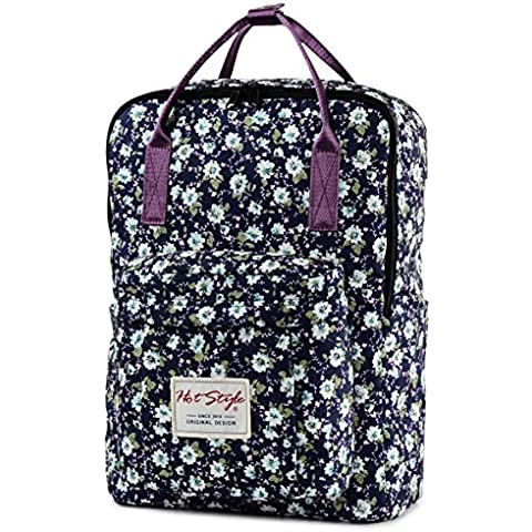 HotStyle Bestie Mochila mujer 18L - Bolsa escolares floral para portatil de 14 pulgadas