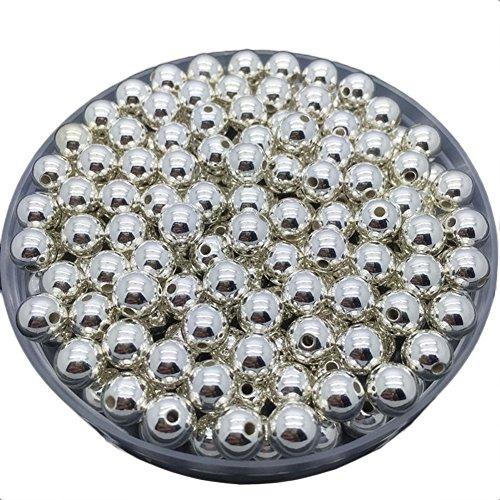 janedream DIY rund Spacer lose Gold versilbert Perlen für Halskette Armband Ohrringe Schmuck machen 50PCS 6mm (Silber) (Glas-edelsteine Multi-farbigen)