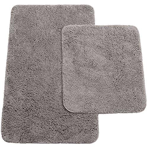 Brandsseller Badematten 2er-Set bestehen aus Badvorleger: ca. 50/80cm und WC-Vorleger ca. 45/50cm - Farbe: Anthrazit
