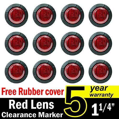 12 Pcs TMH 1 1/4 Inch Mount Red LENS & Red LED Clearance Markers, side marker lights, led marker lights, led side marker lights, led trailer marker lights, trailer marker light by TMH