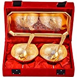 Art Bazar Silver And Golden Plated, Tray, Bowl With Spoon Set, 50 Ml, 5-Piece, Gold (JPGS100)