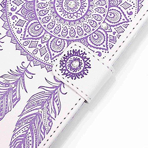 BONROY® Coque pour iPhone 7 (4,7 Zoll),Housse en cuir pour iPhone 7 (4,7 Zoll),imprimé étui en cuir PU Cuir Flip Magnétique Portefeuille Etui Housse de Protection Coque Étui Case Cover avec Stand Supp blanc violet
