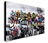 Marvel DC Comic Super Heroes Lunch Skyscraper Canvas Framed Wall Art - Various Sizes (A3 16x12 inch)