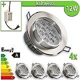 4 x LEDVero de focos para foco LED de 12 W rejilla de ventilación redonda de luz blanca fría