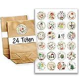 Papierdrachen Adventskalender Set - 24 braune Papiertüten und 24 Bunte Zahlenaufkleber - zum selbermachen und befüllen - Mini Set 22
