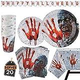 Kompanion 82 Stück Halloween Party Set inklusive Banner, Teller, Becher, Servietten und Tischdecke, für 20 Personen