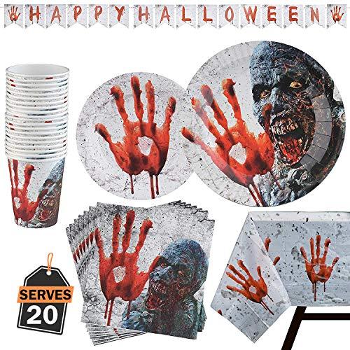 Kompanion 82 Stück Halloween Party Set inklusive Banner, Teller, Becher, Servietten und Tischdecke, für 20 ()
