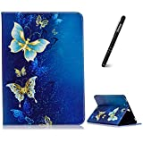 Galaxy Tab S3 9.7 Hülle,Slynmax Schutzhülle Smart Case Tasche Golden Schmetterling Ledertasche Flip Case Standfunktion Kompatibel mit Samsung Galaxy Tab S3 (9,7 Zoll, SM-T820 T825) - Blau