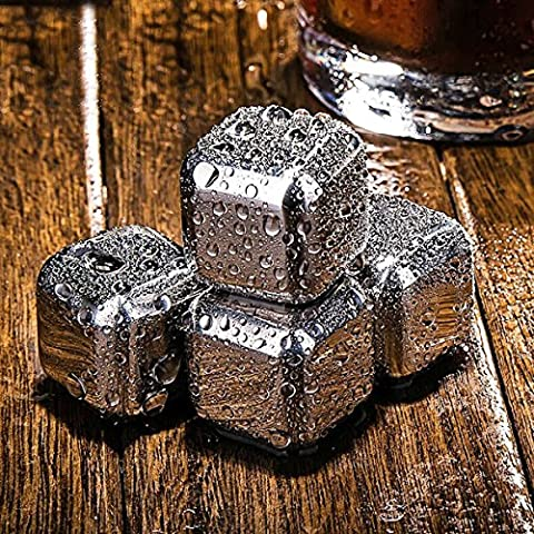 Homeself 8 Pcs Whiskey Ice Stones Cubes 8pcs Reusable Stainless