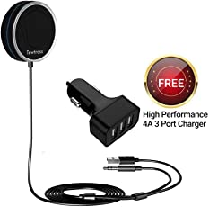 Tewtross Bluetooth Handsfree Car Receiver Kit with Microphone, CVC 6.0 Noise Cancellation, 2 Phone Connect, with Charger(Black)